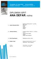 Ana Defar, violina : drugi dio diplomskog ispita (Prilog)
