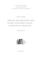 """prikaz prve stranice dokumenta OBILJEŽJA """"PEDAGOGIJE POPULARNE GLAZBE"""" UZ METODIČKU ANALIZU GLAZBE SASTAVA THE BEATLES"""